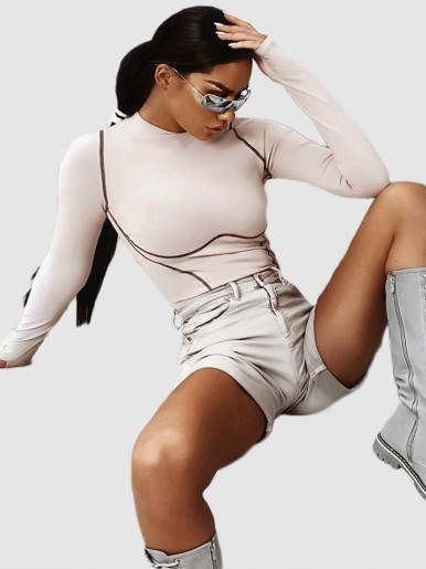 OneBling Sexy Striped Bodysuits One-piece Women Rompers Womens Jumpsuit Playsuit Winter Long Sleeve Thumb-hole Fitness Bodysuit
