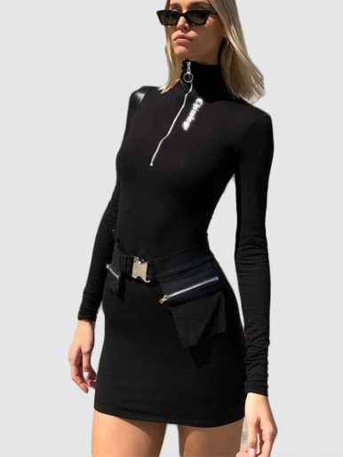 OneBling Reflective Letters Print Turtleneck Dress Women Mini Bodycon Dress 2019 Autumn Winter Zipper Long Sleeve Casual Dresses