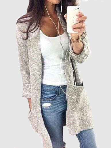 OneBling Knitted Long Cardigan Women Sweater 2019 Autumn Winter Long Sleeve Pockets Casual Female Overcoat