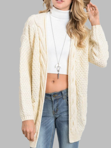 OneBling Twist Knitted Long Cardigan Women Sweater 2019 Autumn Winter Pocket Long Sleeve Casual Loose Ladies Sweaters Plus Size