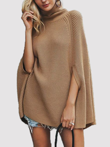 OneBling Knitted Cape Sweaters Women Turtleneck Long Sweater Ladies Pullovers 2019 Autumn Winter Inverness Casual Female Jumper