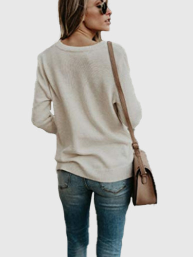 OneBling Deep V Cross Knitted Sweater Women Casual Loose Sweaters 2019 Autumn Winter Jumper Long Sleeve Ladies Pullovers