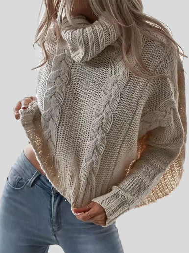 OneBling Chic Twist Women Turtleneck Sweater Loose Pullovers