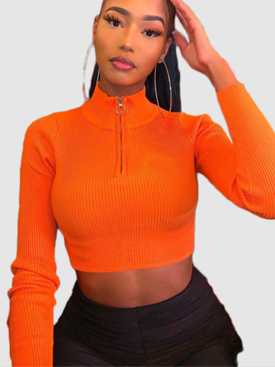 OneBling Rib Knitted Women Turtleneck Sweater Woman Long Sleeve Pullover Zipper Crop Tops Female Short Jumper