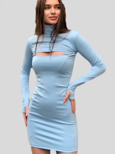 OneBling Hollow Out Turtleneck Bodycon Dress Women Mini Dress 2019 Autumn Winter Long Sleeve Thumb-hole Short Casual Dress