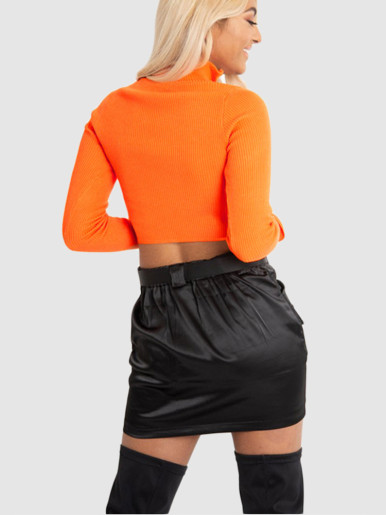 OneBling Rib Knitted Women Turtleneck Sweater Woman Long Sleeve Pullover Zipper Crop Tops Female Short Jumper