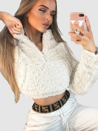 OneBling Fake Fur Short Sweatshirts Women Long Sleeve Pullover 2019 Autumn Winter Zipper Pockets Front Female Fluffy Jumper