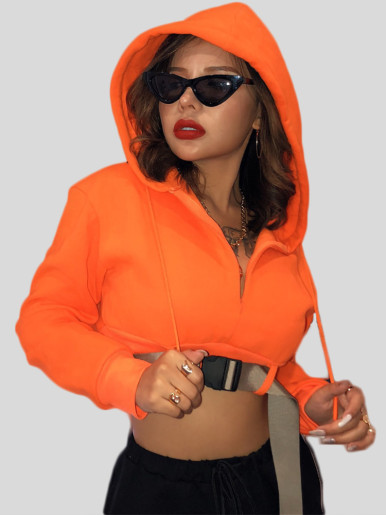 OneBling Fashion Hoodie Sweatshirt Women Short Sweatshirts with Waistband 2019 Autumn Winter Long Sleeve Female Orange Hoodie