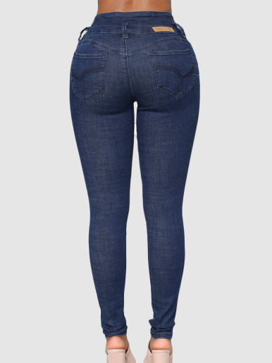 OneBling Plus Size High Waist Skinny Jeans with Button Fly Detail