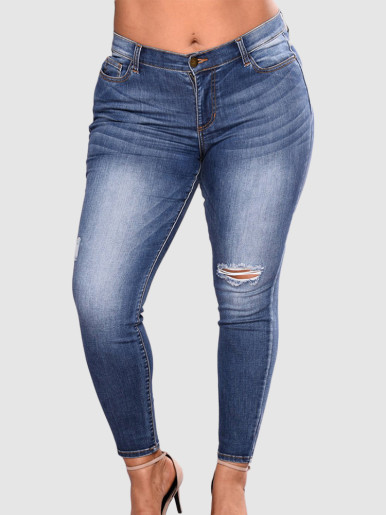 OneBling Plus Size Curve High Waisted Slim Jeans with Knee Rip