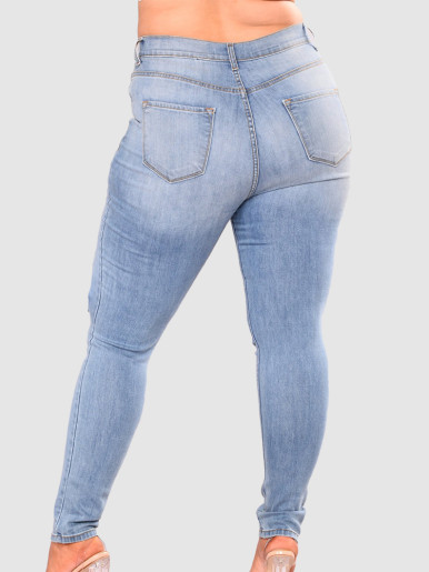 OneBling Plus Size Curve Jeans with Busted Knee & Rips