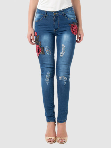 OneBling Plus Size Ripped Skinny Jeans with 3D Floral Embroidery Detail