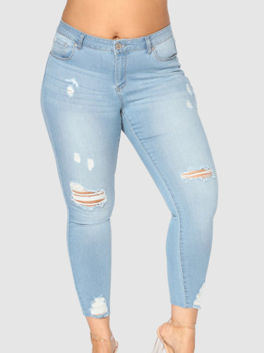 OneBling Plus Size High Waisted Ankle Skinny Jeans with Rips & Raw Hem