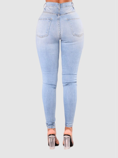 OneBling High Waisted Slim Jeans In Light Blue Wash