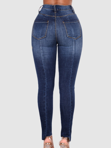 OneBling Plus Size Curve High Waisted Slim Jeans with Floral Embroidery & Raw Hem Detail