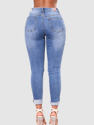 OneBling Distressed Rips Skinny Jeans with Embroidery Detail