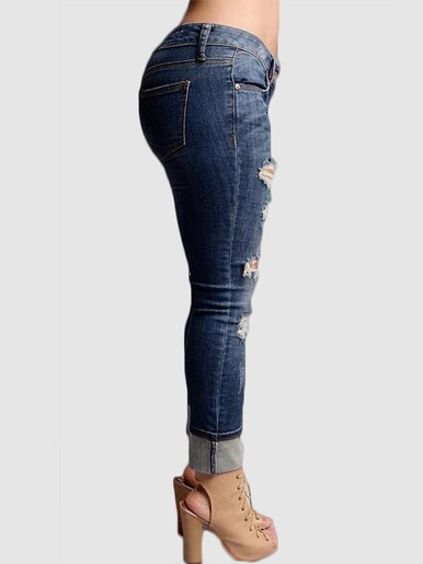 OneBling Distressed High Waisted Denim Jeans with Ripped Knees