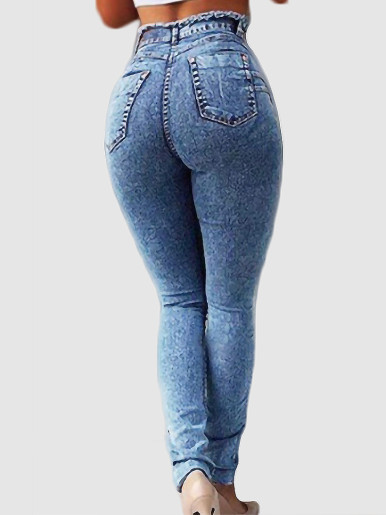 OneBling Plus Size Raw Trim High Waisted Skinny Jeans with Belt