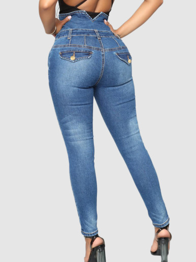 OneBling High Waist Skinny Jeans with Exposed Button Fly