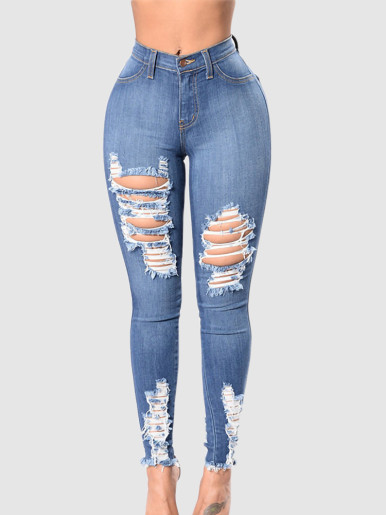 OneBling Plus Size Skinny Jeans In Blue with Ripped & Raw Hem
