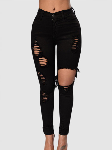 OneBling High Waisted Slim Jeans with Heavy Rips