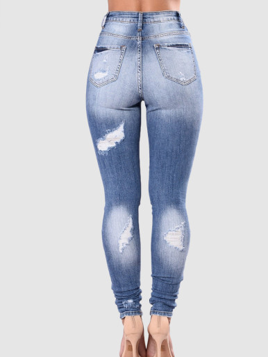 OneBling Plus Size Skinny Distressed Jeans In Light Blue