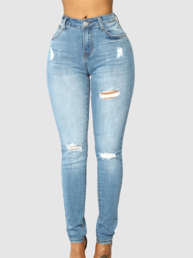 OneBling Ripped Skinny Jeans In Light Wash