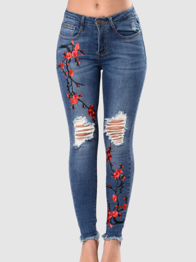 OneBling Plus Size Plum Blossom Embroidery Distressed Mid-Rise Jeans with Raw Hem