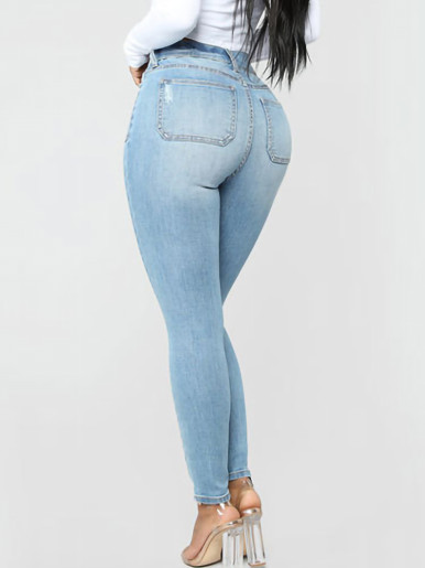 OneBling Exposed Button Ankle Jeans In Light Blue