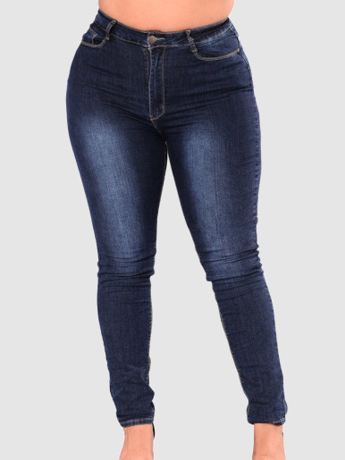 OneBling Plus Size Skinny High Waisted Jeans In Dark Blue