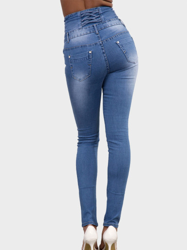 OneBling Exposed Button High Waisted Slim Jeans