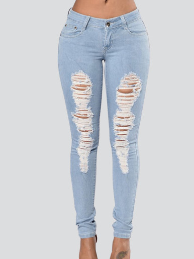 OneBling Women Hole Ripped Stretch Mid Waist Skinny Jeans