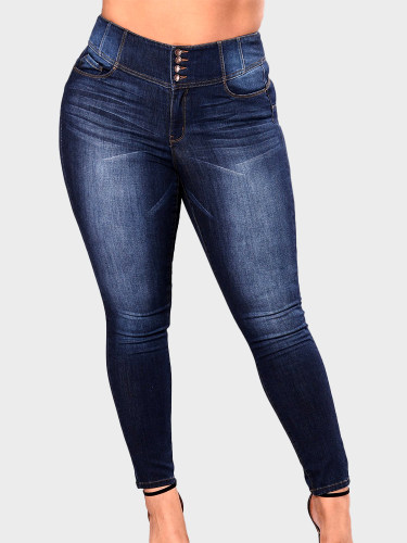 OneBling Plus Size Curve High Waisted Denim Jeans In Dark Wash with Button Fly