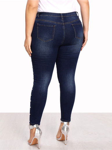 OneBling Women Plus Size Blue Pearls Beads Casual Denim Jeans
