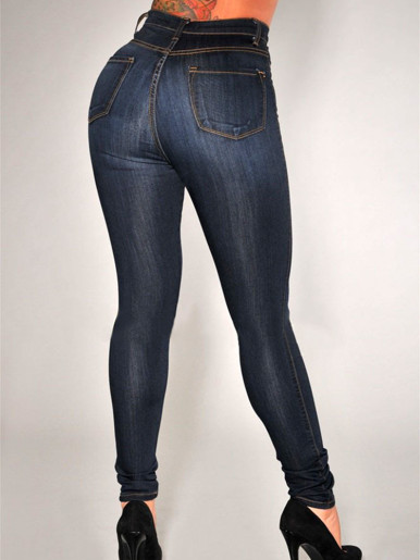 OneBling Plus Size High Waisted Denim Skinny Jeans with Button Fly Detail