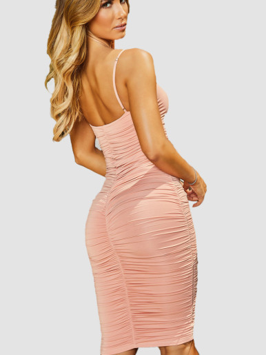 Sweetheart Ruched Midi Dress with Adjust Strap and Tie Front