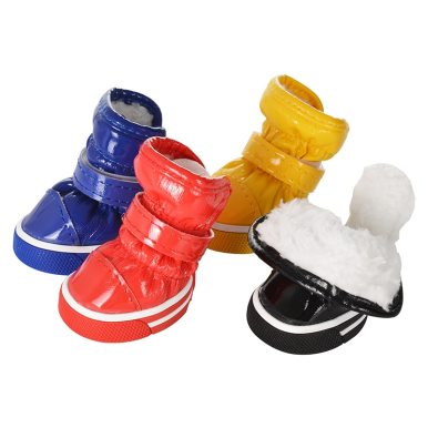 OneBling 4pcs/set Pet Dog Shoes Dog Snow Boots Puppy PU Shoes Pet Shoes