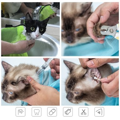 OneBling Cats Bathing Bag Kitten Anti Scratching Biting Bag Pet Nail Trimming Injecting Bags
