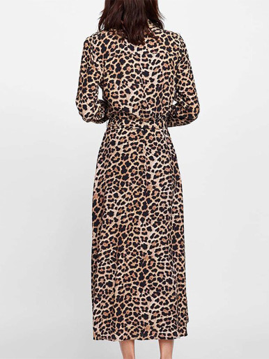 Long Sleeve Shirt Midi Dress In Leopard