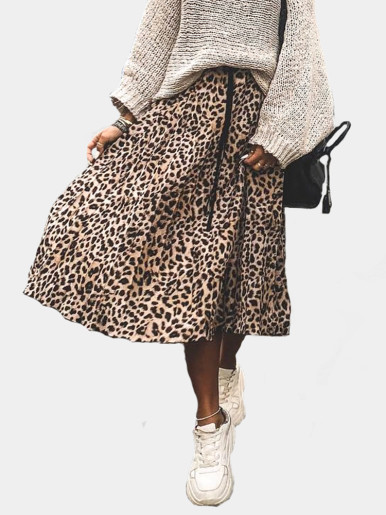 Leopard print Drawstring elastic waist pleated skirts