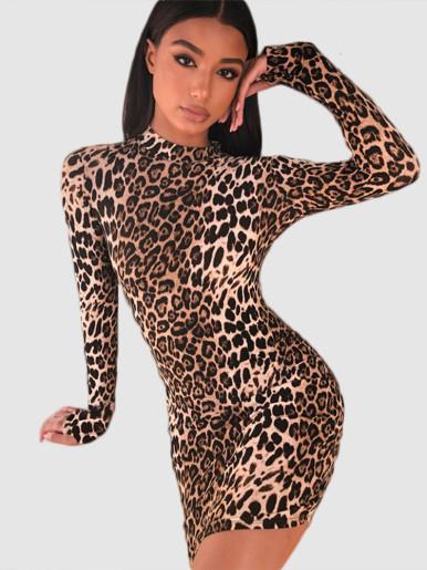 High Neck Bodycon Mini Dress In Leopard