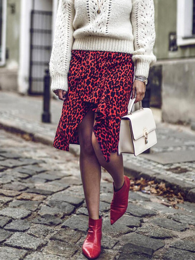 Asymmetric Ruffle Leopard Midi Skirt