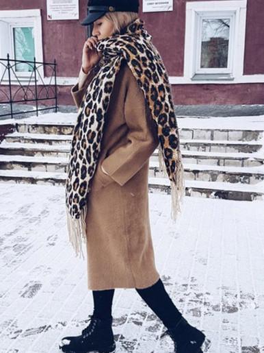 Winter Tassel Scarf In Brown Leopard