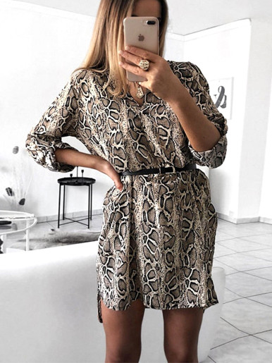 OneBling V Neck Fitted Mini Printed Shirt Dress with Curved Hem