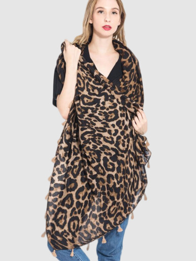 Leopard Print Lightweight Long Scarf with Fringe Trim