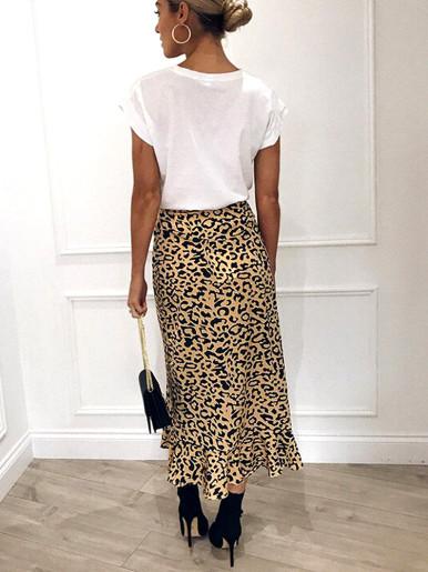 Lace Up High Waist Ruffles Long Wrap Skirt In Leopard
