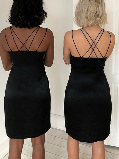 Strappy Mini Dress with Wrap Skirt In Black