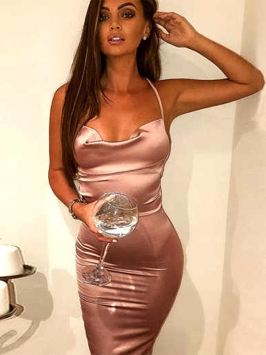 Satin Bodycon Midi Dress with Strappy Back and Cowl Neck