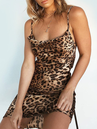 OneBling Leopard Print Mini Bodycon Dress with Draped Neckline