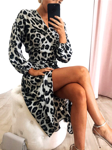 OneBling Leopard Print Long Sleeve Wrap Front Midi Dress